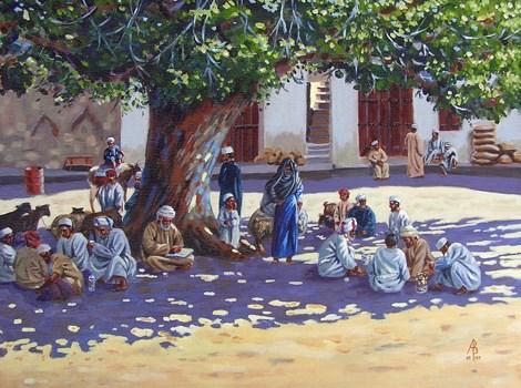 """Goat market, Nizwa, Oman"" original fine art by Alix Baker PCAFAS AUA"