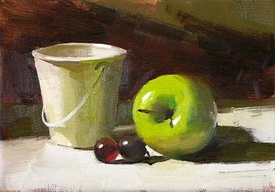 """Green Center 2 --- Sold"" original fine art by Qiang Huang"