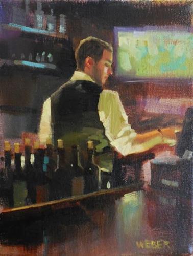 """""""Tending bar"""" original fine art by Kathy Weber"""