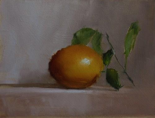 """Orange with Leaves"" original fine art by Neil Carroll"