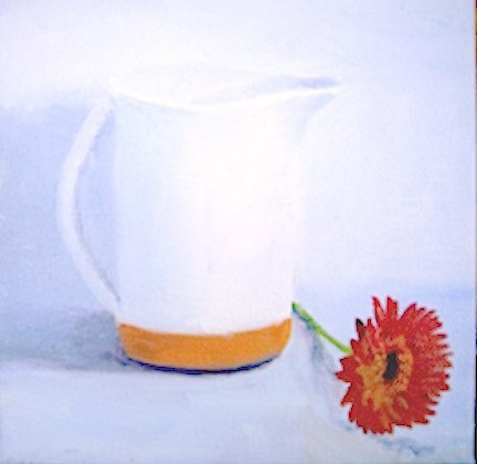 """pitcher with zinnia"" original fine art by Gloria  Nehf"