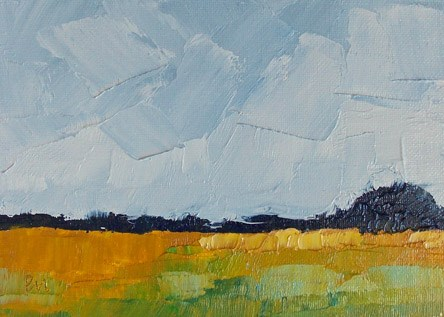 """Blue over Gold"" original fine art by Pamela Munger"