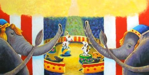 """Children's Art, Elephant Illustration Painting  Illustration ILLUSTRATION FOR TRUNKS AND TAILS by"" original fine art by Nancee Busse"