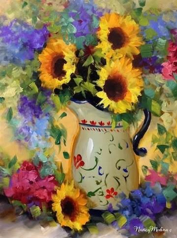 """Je T'aime Sunflower Bouquet and Valentine's Giveaways by Nancy Medina"" original fine art by Nancy Medina"