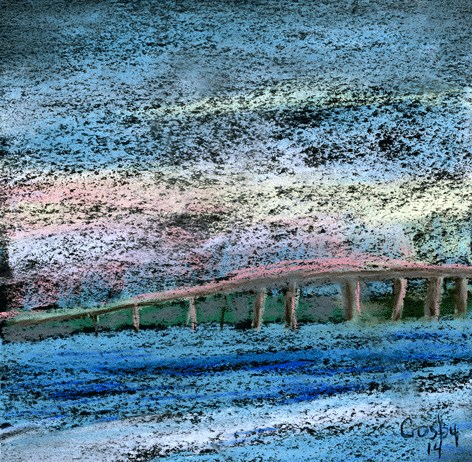 """A Bridge At Sunset"" original fine art by Donna Crosby"