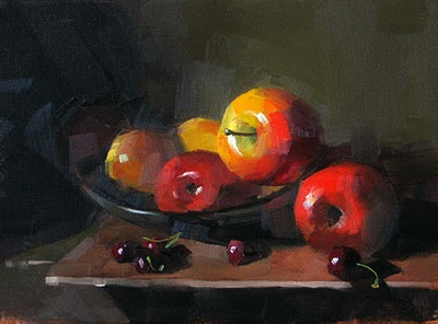 """Apples and Cherries"" original fine art by Qiang Huang"