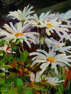 """Shasta Daisies  flower oil painting"" original fine art by Robin Weiss"
