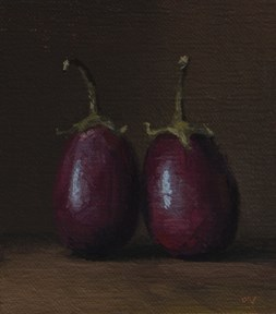 """Two Baby Eggplants  (+ Free Poster reminder)"" original fine art by Abbey Ryan"