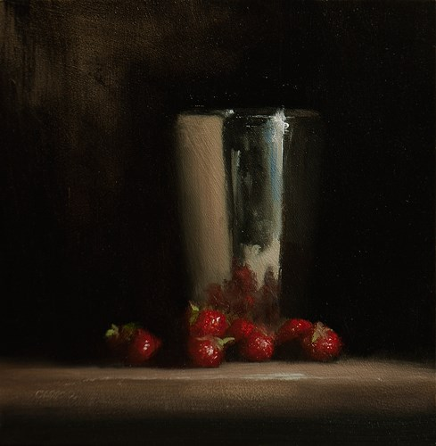 """Cup and Strawberries"" original fine art by Neil Carroll"