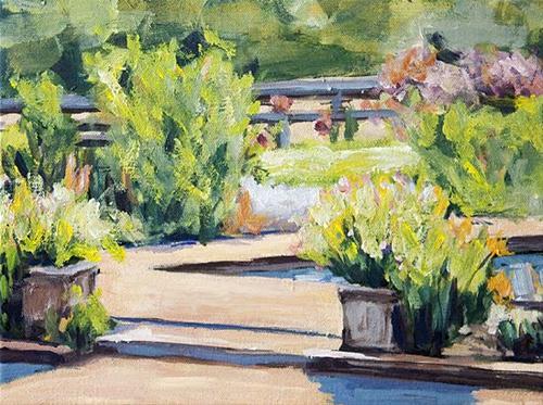 """Pool Garden 3"" original fine art by J. Farnsworth"