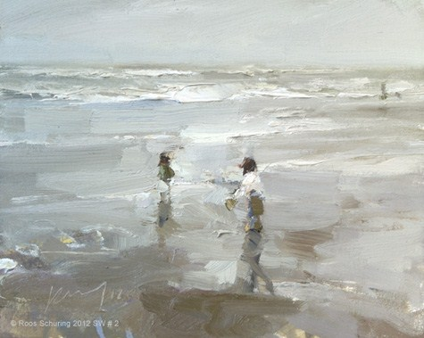 """""""Seascape winter 2 -Those two~Composition in white (sold)"""" original fine art by Roos Schuring"""