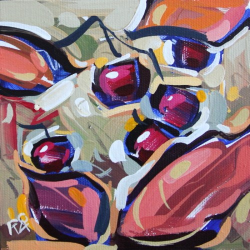 """""""Autumn Berry Abstraction 7"""" original fine art by Roger Akesson"""
