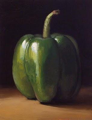 """""""Green Pepper in Early Morning Light"""" original fine art by Abbey Ryan"""