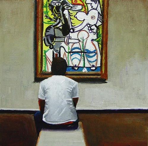 """Picasso Lover- Man Enjoying A Painting By Pablo Picasso"" original fine art by Gerard Boersma"