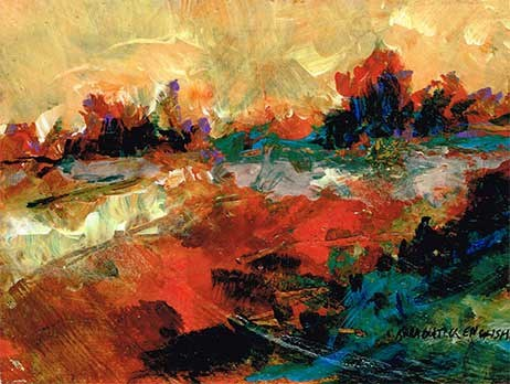 """""""Orange and Blue Abstracted Landscape Painting"""" original fine art by Kara Butler English"""