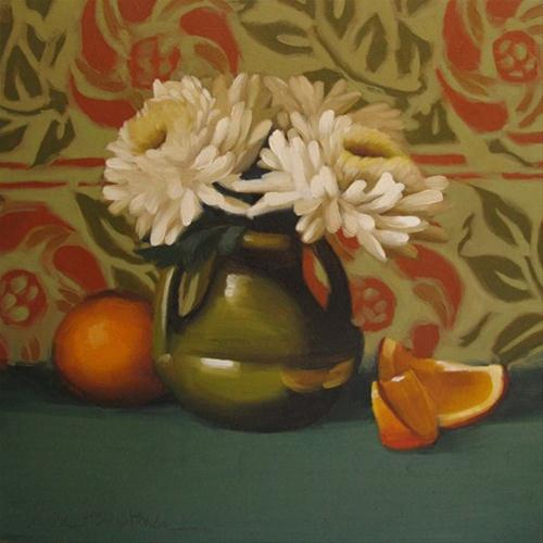 """""""Mum Melody floral still life before and after"""" original fine art by Diane Hoeptner"""