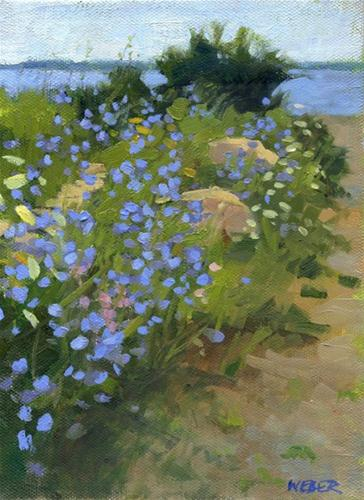 """Stone walls and chicory"" original fine art by Kathy Weber"