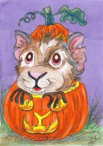 """Pumpkin Surprise - Jack O Lantern Guinea Pig"" original fine art by Kim Loberg"
