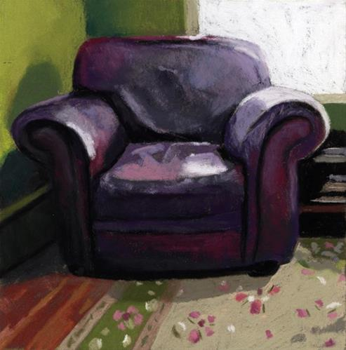 """Old Leather Man Chair painting"" original fine art by Ria Hills"