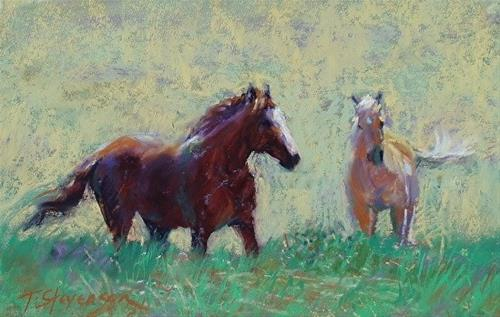 """Up the Hill"" original fine art by Trish Stevenson"