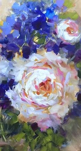 """""""Slice of Life Peonies and Brilliant Color Online Is Coming"""" original fine art by Nancy Medina"""