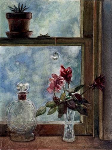 """Watercolor: He Hung the Moon for Her"" original fine art by Belinda Del Pesco"