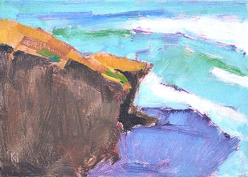 """Ocean Beach Cliffs"" original fine art by Kevin Inman"