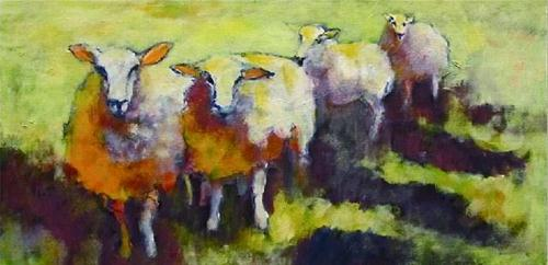 """""""Sheep Go Marching Two by Two"""" original fine art by Patricia MacDonald"""
