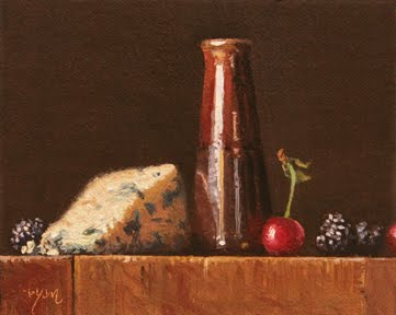 """""""Still Life with Blackberries, Cherries, and Bleu Cheese"""" original fine art by Abbey Ryan"""