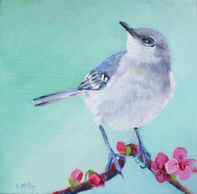 """Mockingbird, Oil, Linda McCoy"" original fine art by Linda McCoy"