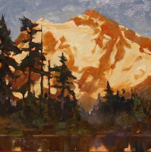 """Mt Shuksan Glow  plein air, oil, landscape painting by Robin Weiss"" original fine art by Robin Weiss"