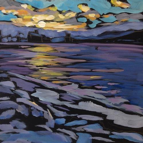 """Sunset Over the Bay, Duluth"" original fine art by Kat Corrigan"