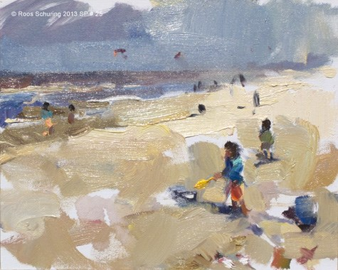 """SP 25 Windy beach and playing (on hold)"" original fine art by Roos Schuring"