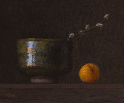 """""""Still Life with Korean Bowl, Pussy Willow, and Apricot   (+ Exhibition and Workshop News)"""" original fine art by Abbey Ryan"""
