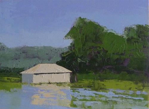 """LAKE DORA BOATHOUSE"" original fine art by Linda Popple"
