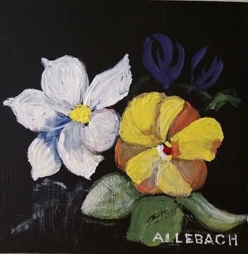 """""""3 Little Flowewrs"""" original fine art by Jo Allebach"""