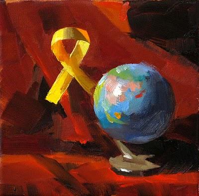 """""""Yellow Ribbon --- Sold"""" original fine art by Qiang Huang"""