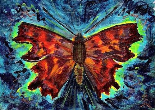 """""""3139 - Matted - COMMA BUTTERFLY ACEO"""" original fine art by Sea Dean"""