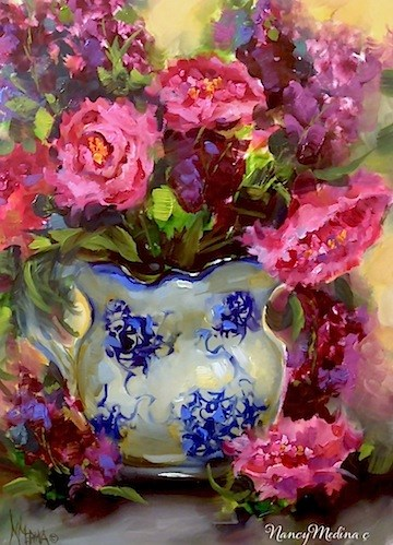 """""""Dreams to Come Pink Peonies and a Day in the Life by Floral Artist Nancy Medina"""" original fine art by Nancy Medina"""
