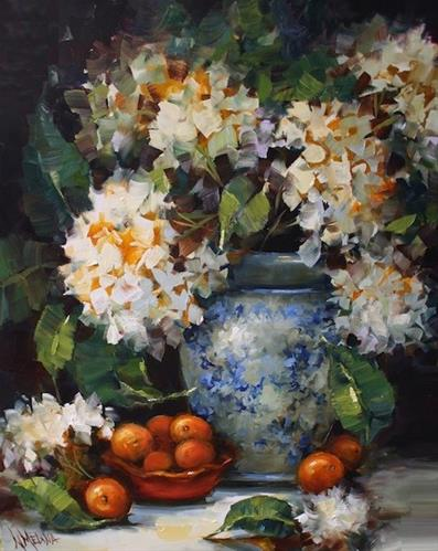 """Cuties and Hydrangeas by Texas Flower Artist Nancy Medina"" original fine art by Nancy Medina"