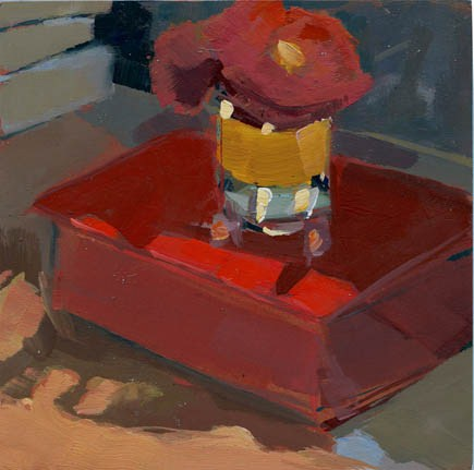 """#1021 Light on Red Box"" original fine art by Lisa Daria"