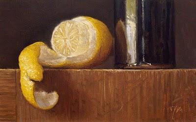 """Still Life with Peeled Lemon and Temmoku Bottle"" original fine art by Abbey Ryan"