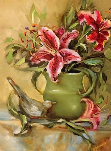 """Summer Born Stargazers by Texas Flower Artist Nancy Medina"" original fine art by Nancy Medina"
