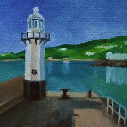 """Smeaton's Pier, St Ives"" original fine art by J M Needham"