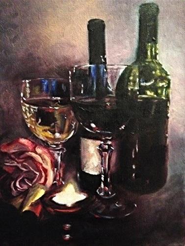 """""""Chiaroscuro Wine & Rose Series #8 by Joye DeGoede"""" original fine art by Joye DeGoede"""