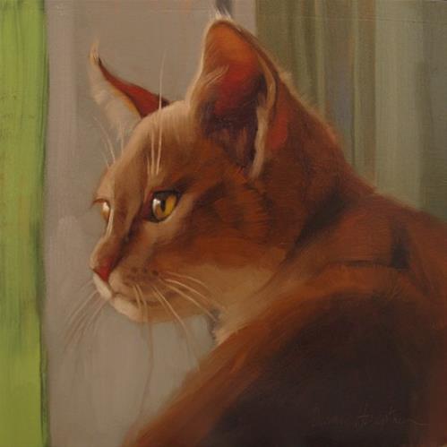 """Window Cat painting of orange cat"" original fine art by Diane Hoeptner"