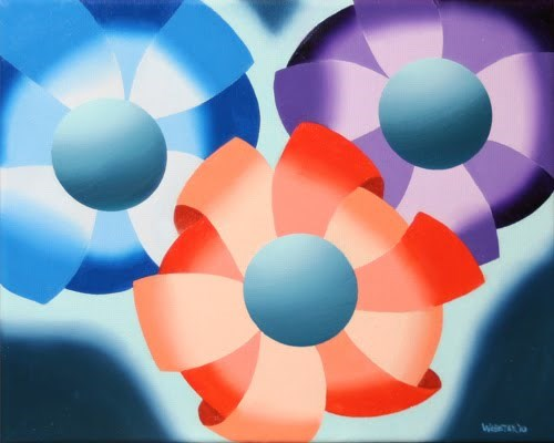"""Mark Adam Webster - Abstract Futurist Flowers #2 Oil Painting"" original fine art by Mark Webster"