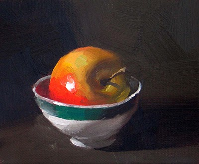 """""""A Bowl of Apple --- Sold"""" original fine art by Qiang Huang"""