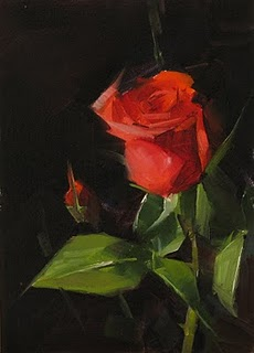 """""""Red Rose Study 4"""" original fine art by Qiang Huang"""