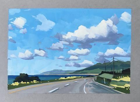 """""""Central Coast Hills"""" original fine art by Sharon Schock"""